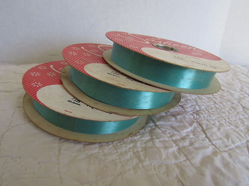 3 Rolls Aqua Green Craft Ribbon 300 yards nos vintage 3M product