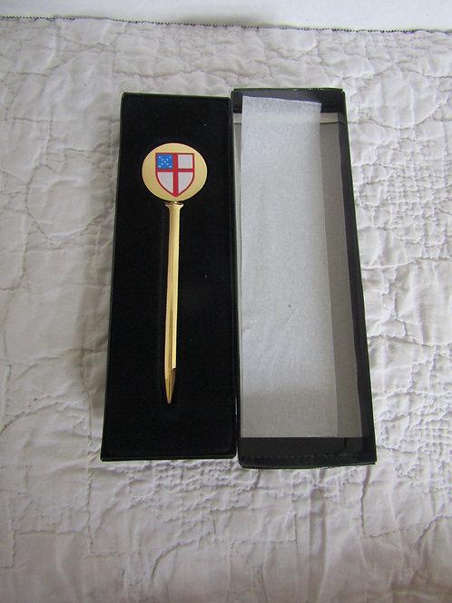 Episcopal Shield Brass Letter Opener NOS