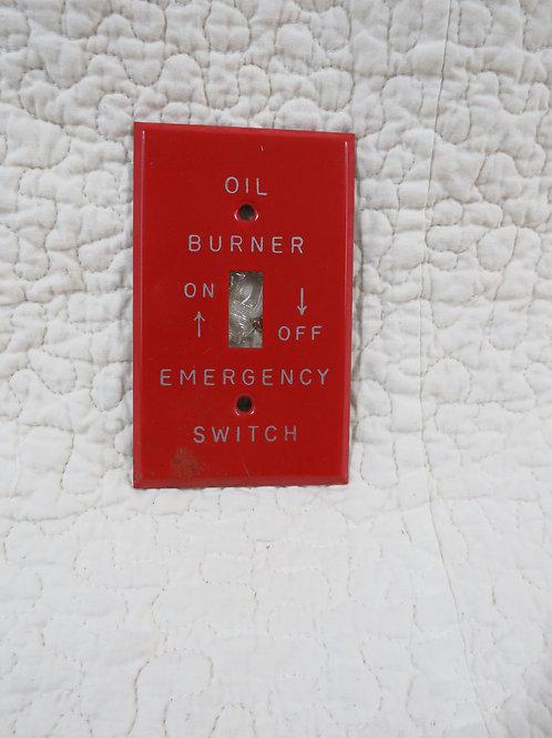 Oil Burner Emergency Metal Switch Cover Vintage
