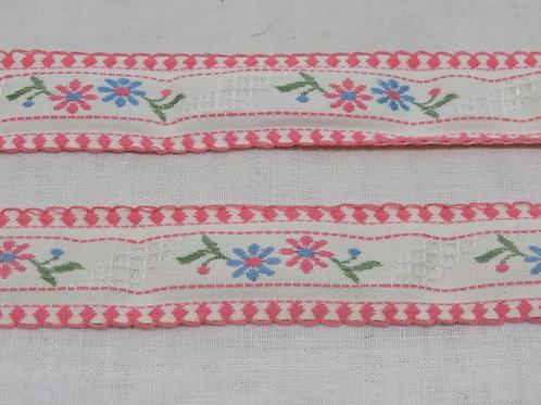 Ribbon Flowers Fabric Trim 3 yards vintage nos