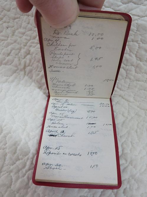 1957 Budget Book Handwritten notes Vintage