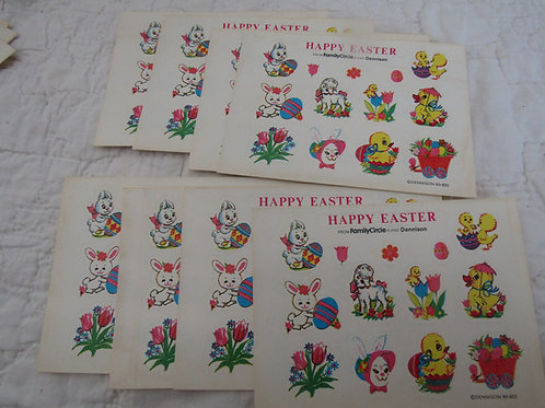 8 Sheets of Vintage Dennison Stickers Easter Theme