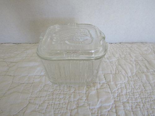 Glass Square Refrigerator Glass Storage Vintage Item