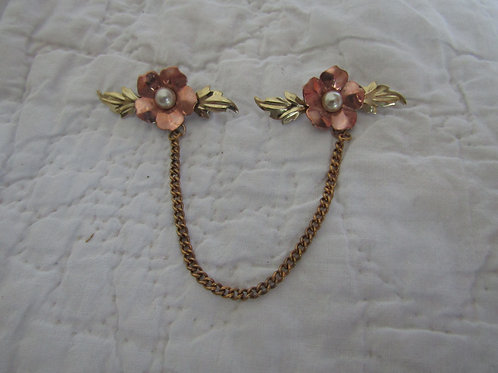 Vintage Sweater Pin with multi colored metal Flowers and Pearls