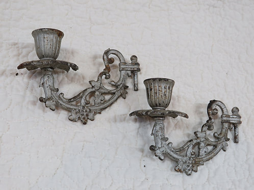 2 Cast Iron Candle Holders Salvage Part Vintage