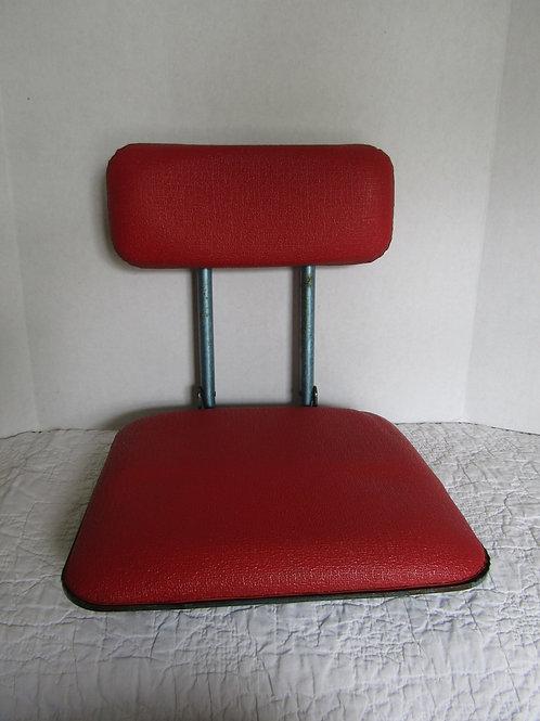 Seat Boat or Stadium Folding seat Red Vinyl blue metal Vintage