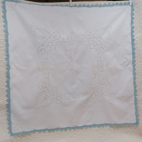 Cutwork Tablecloth Blue White Vintage not perfect