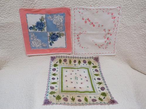 3Ladies Handkerchiefs  Vintage