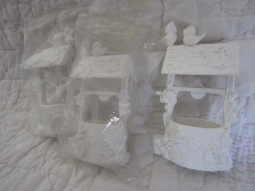 New Supply Lot of 3 Plastic Wishing Wells with Birds
