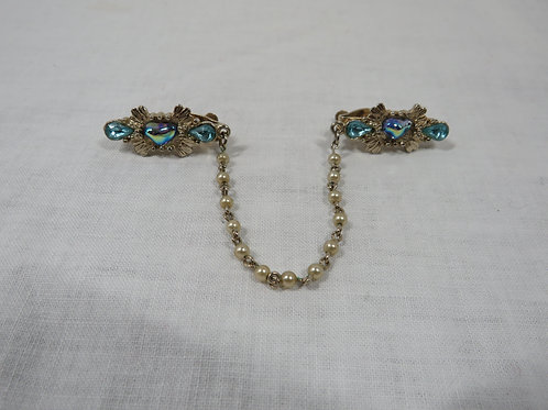 Sweater Clip faux pearl gold and blue
