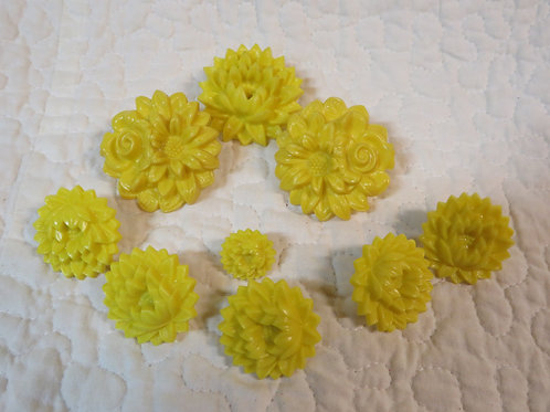9 Drapery or Curtain Pins Yellow Flowers Vintage