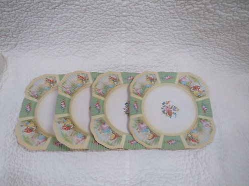4 Victorian Paper Plates Vintage
