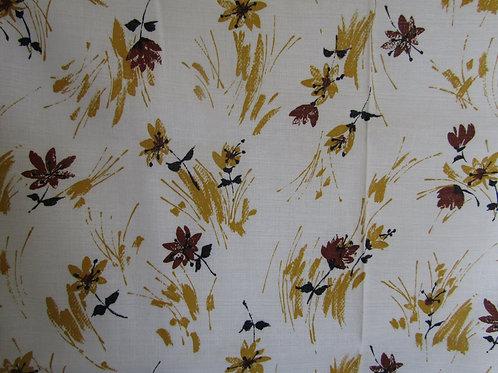 "Fabric Floral print 1 1/2 yard x 36"" linen look vintage item"