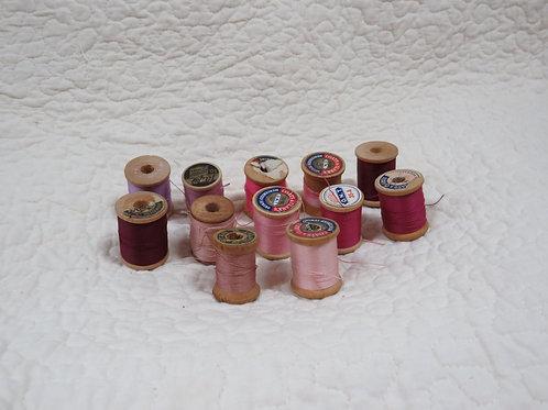 12 Wood Thread Spools pinks purples Vintage Items