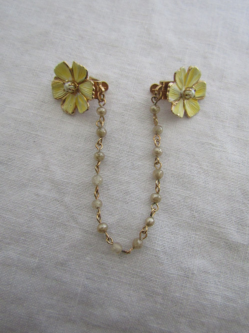 Yellow Flower Sweater Clip Guard Vintage