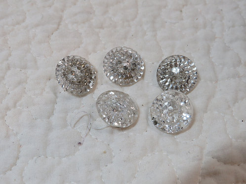 5 Clear Buttons Vintage