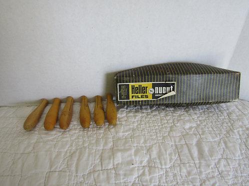 6 Wood Heller File Handles nos Yellow