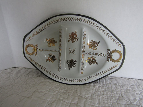 Glass Divided Dish Black White Gold design Vintage
