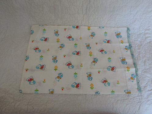 Vintage Pillow Case with Tatted Edge Children's, Juvenile, Infant