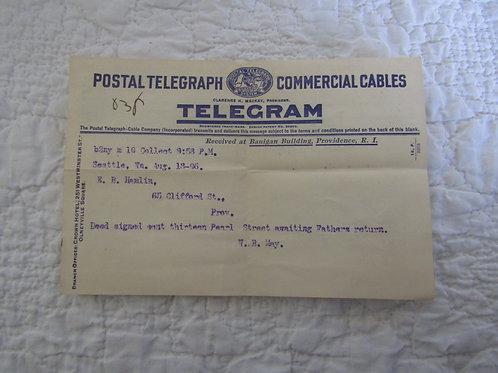 1906 Postal Telegram Original Paper / Note