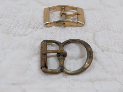 2 Brass Buckles Small, Vintage