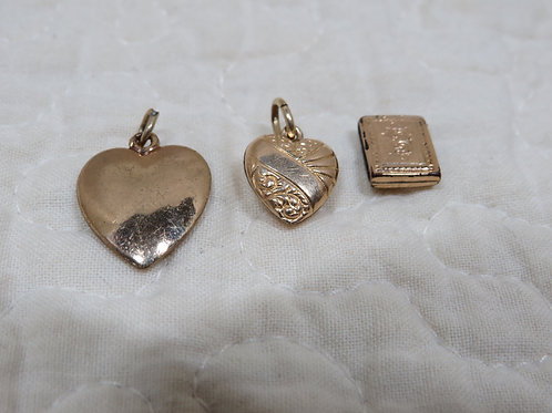 3 Small Brass charms Vintage