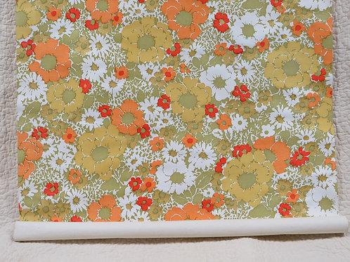 Floral Wallpaper Partial Roll Vintage