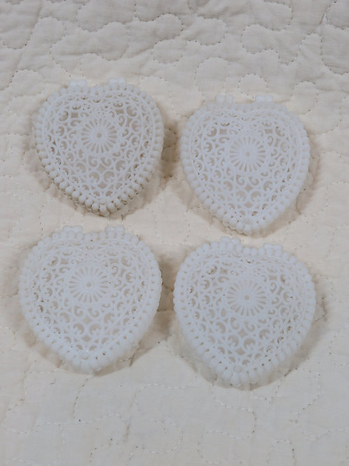 4 Heart Plastic Trinket Boxes Vintage