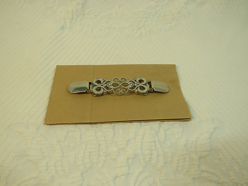 New Gift Silver tone with Rhinestones Sweater Clip / Guard with gift bag