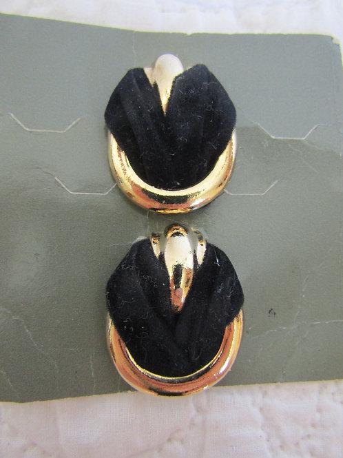 Vintage Dress or Shoe Clips Black Velvet and Gold Tone Metal NOS