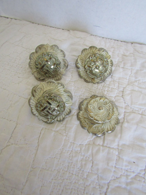 Lot of 4 Vintage pulls or knobs White washed