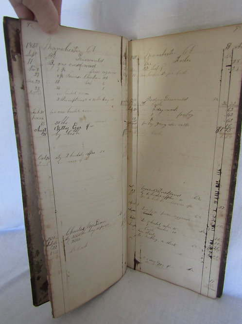 1850 + Antique Ledger and day book for farm