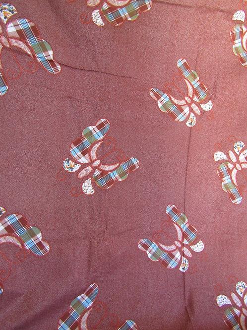 "Cotton Fabric Butterflies 1 yards x 44"" Vintage"