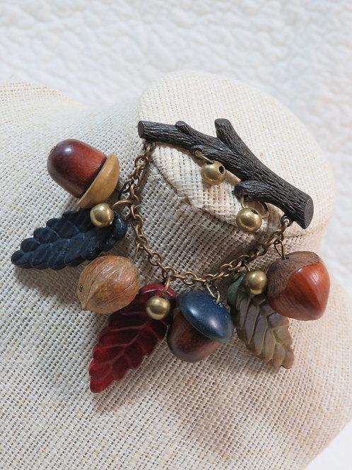 Brooch Wood Plastic and Metal acorns and leaves