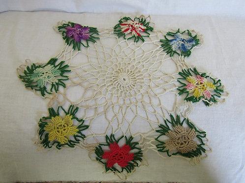 Crocheted Doily Multi color floral Vintage