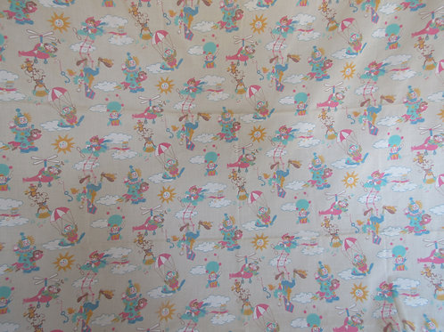Vintage Juvenile Fabric Clown Print 1 1/8 yards x 45 inches wide
