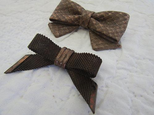 2 Vintage Dress or Shoe Clips Bows Lot