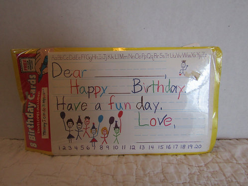 Child's Birthday Cards Learn to write nos
