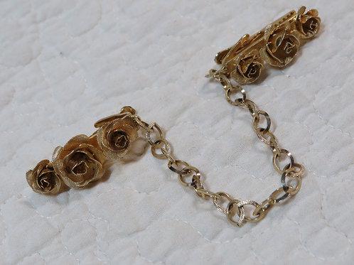 Sweater Clip Roses Vintage Item