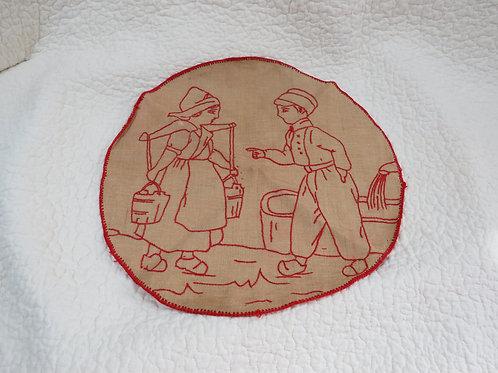 Round Linen Embroidered cloth Vintage Item