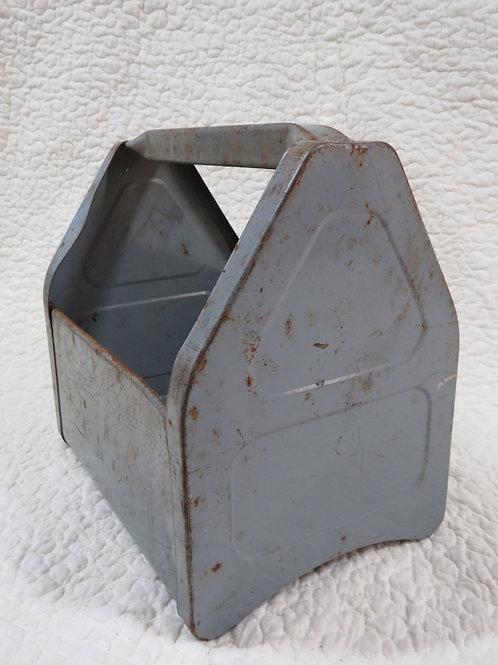Storage Bin box Tools Industrial Gray metal Vintage