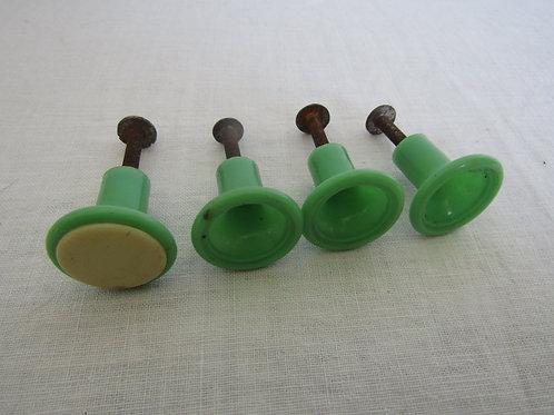 4 Green Plastic pulls Vintage