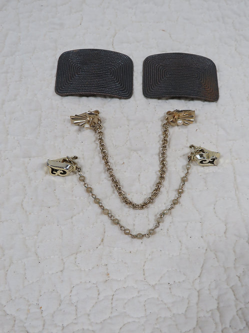 3 pc Jewelry lot Sweater & shoe Clips guards Vintage
