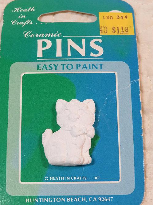 Ceramic paintable Cat pin vintage Item