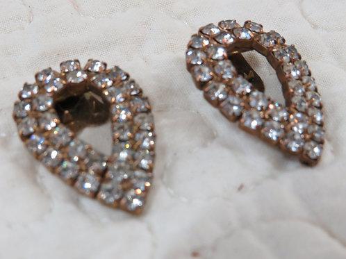 Dress Shoe Clips Rhinestones gold tone base Vintage