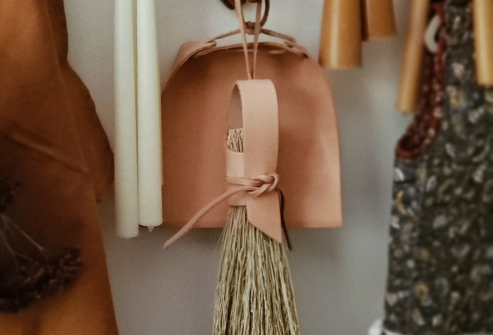 Veg Tan Leather and Straw Hand Brush