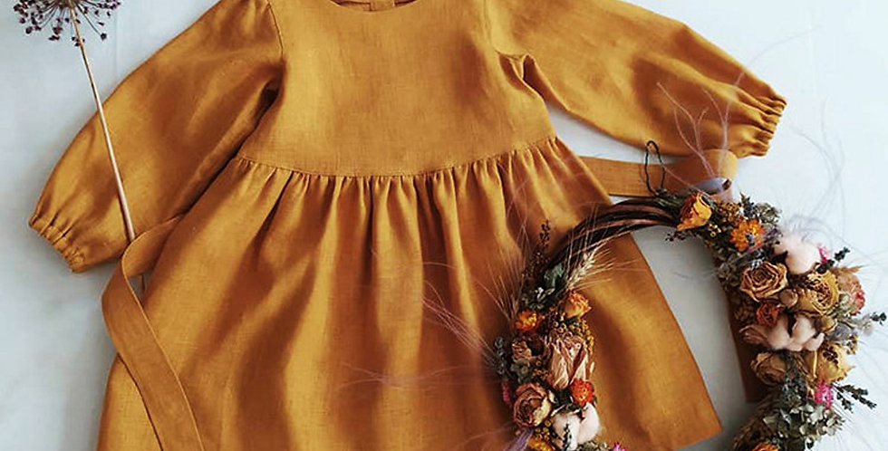 Mustard Linen Dress with Puffed Sleeves