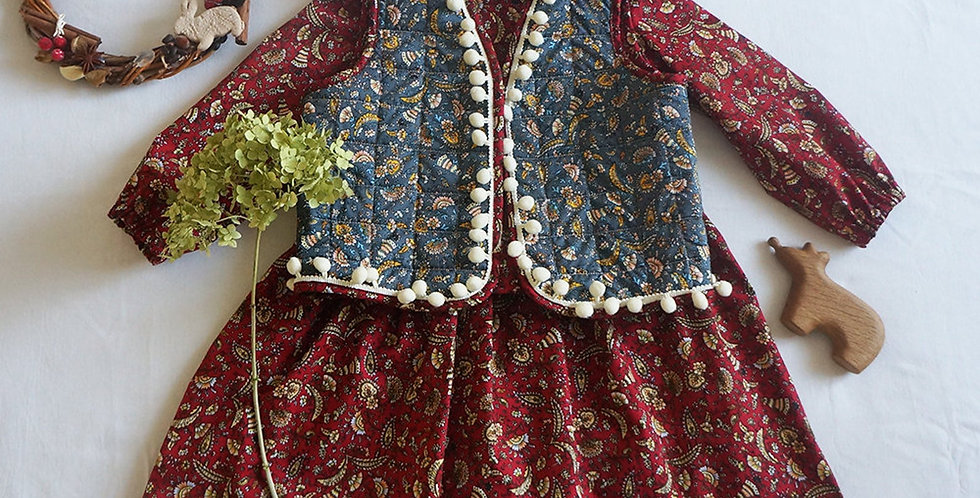 Folklore Red Dress with Puff Sleeves