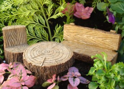 Fairy Garden Log Table and Chairs