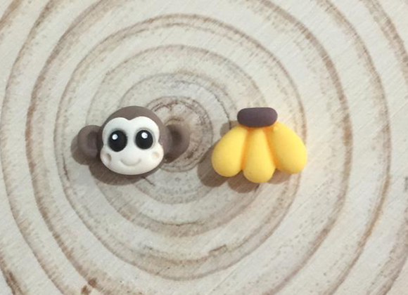 Handmade monkey and banana stud earrings